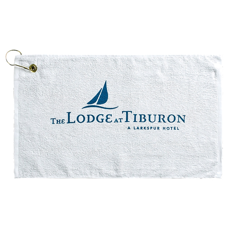 Loop Terry Golf Towel w/ Left Corner Hook & Grommet (Color Embroidered)