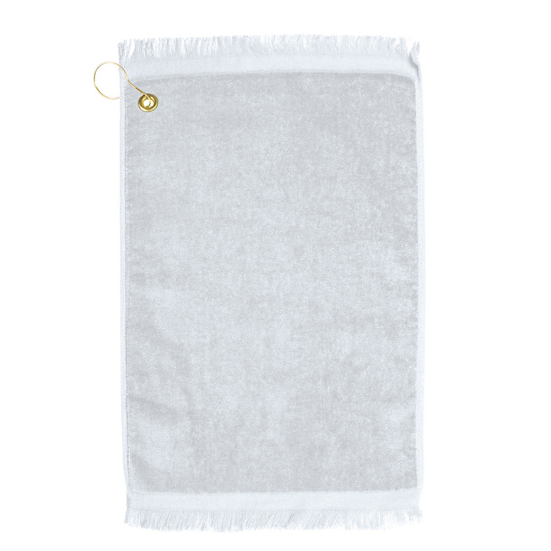 Premium Fringed Golf Towel w/ Left Corner Hook & Grommet (White Imprinted)