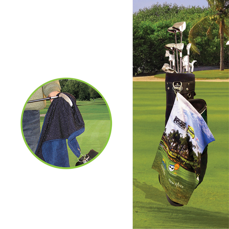 Microfiber Scrubber Golf Towel - Upper Left Hook & Grommet (Printed)