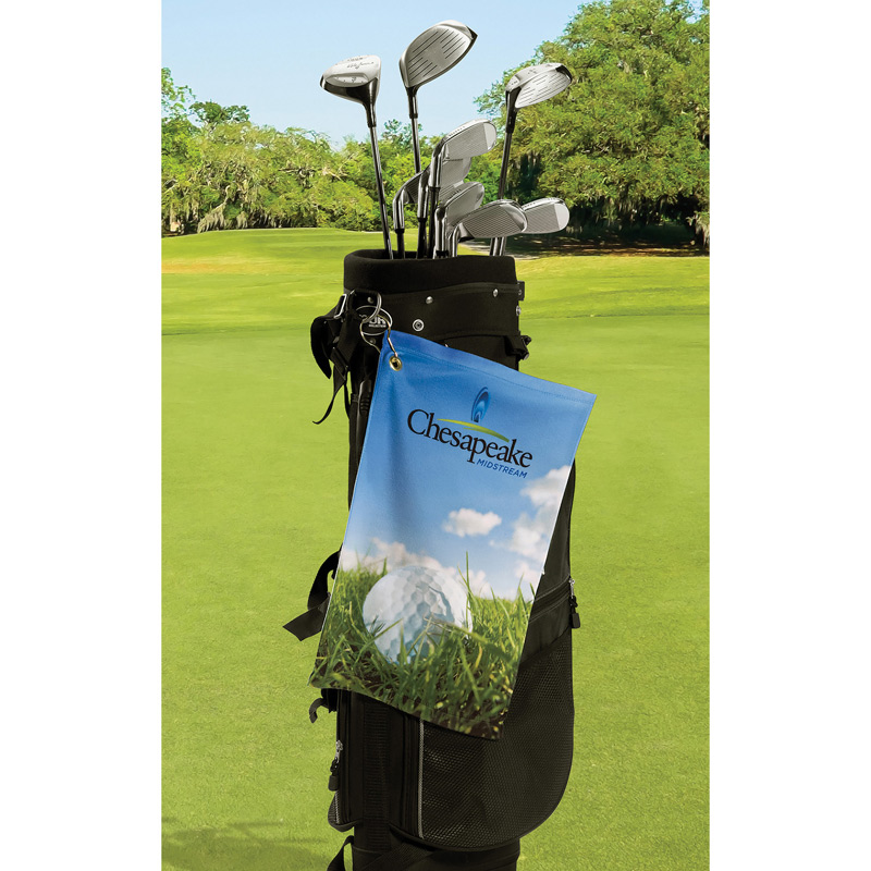 Microfiber Velour Golf Towel w/ Corner Hook Grommet (Edge to Edge Printed)
