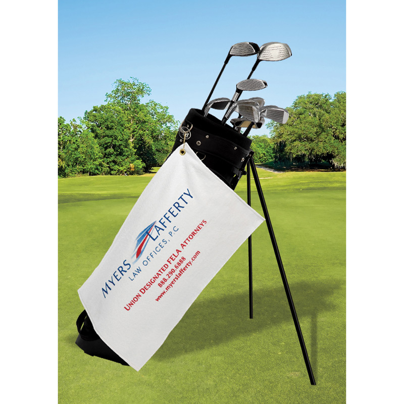 Made in USA Terry Velour Golf Towel - Trifolded (Embroidered)