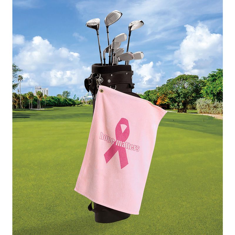 Medium Weight Golf Towel W/ Upper Left Corner Hook & Grommet (Color Imprinted - Tone on Tone)