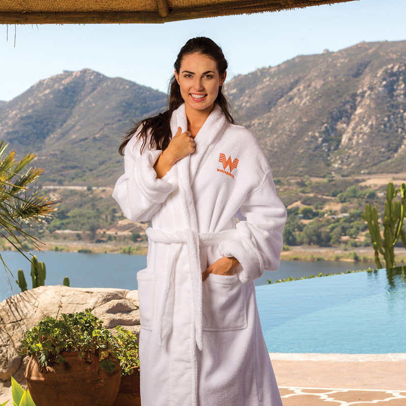 Zero Twist Ultrasoft Cotton Shawl Collar Robe (Embroidered)