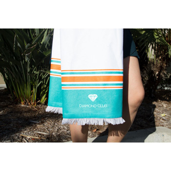 Peshtemal Beach Towel with Bamboo Loops (Embroidered)