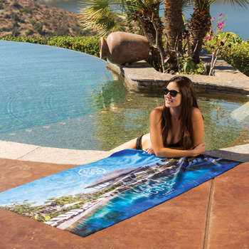 Heavyweight Subli-Plush Velour Beach Towel (Color Backing)