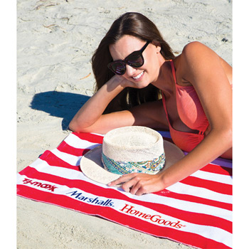 Microfiber Cabana Stripe Beach Towel (Embroidered)