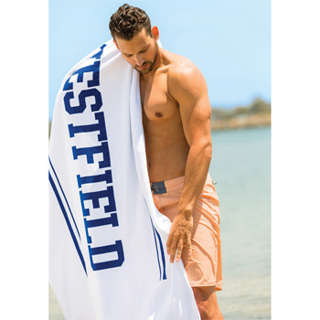 Presidential Plush Velour Beach Towel (White Embroidered)