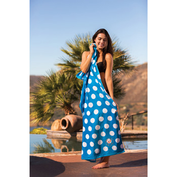 Polka Dot Printed Velour Beach Towel (Embroidered)