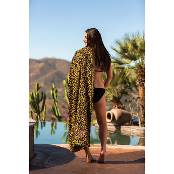 Leopard Print Fiber Reactive Beach Towel (Embroidered)
