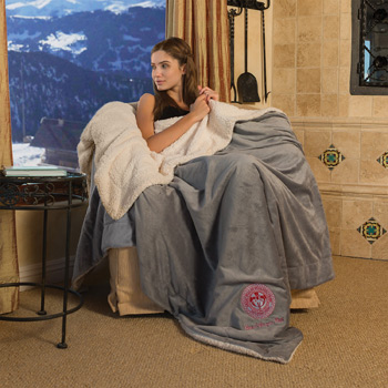 Oversize Micro Mink Sherpa Throw (Embroidered)