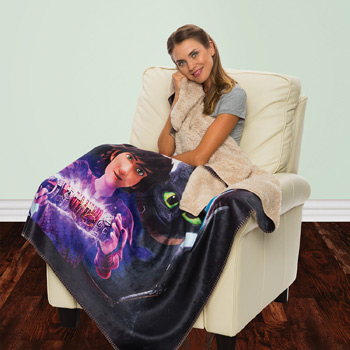 Sherpa Lined Sublimated Micro Mink Throws
