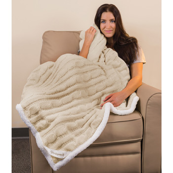 Cable Knit Chenille Throw ( Leatherette Patch)