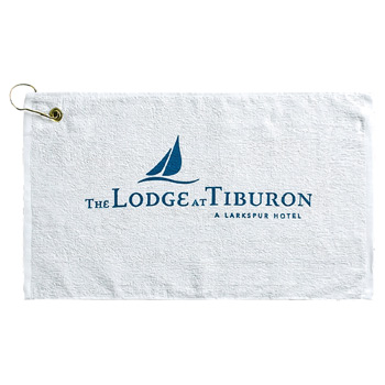 Promo Weight Terry Golf Towel w/ Upper Left Corner Hook & Grommet (Color Imprinted - Tone on Tone)