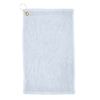 Promo Weight Terry Golf Towel w/ Upper Left Corner Hook & Grommet (White Imprinted)