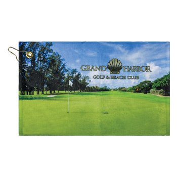Subli-Cotton Velour Golf Towel - Trifold Hook Grommet (Edge to Edge Printed)