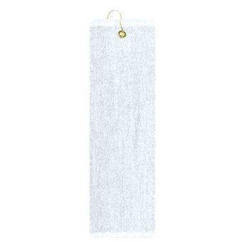 Premium Mid-Weight Velour Golf Towel - Trifolded (White Imprinted)