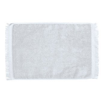 Premium Fringed Velour Fingertip & Spirit Towel (White Imprinted)