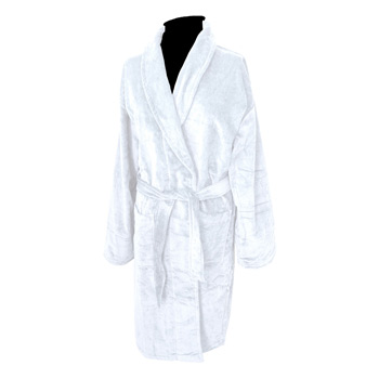 Terry Velour Shawl Collar Robe (White Embroidered)