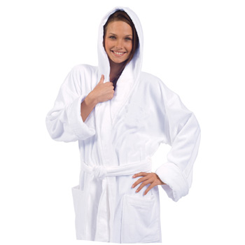 Terry Velour Hooded Robe (White Embroidered)