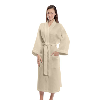 "Waffle Weave 48"" Poly Blend Kimono Robe (Color Embroidered)"