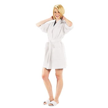 Thigh Length Waffle Weave Kimono Robe (White Embroidered)