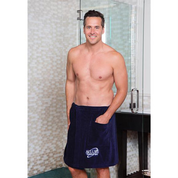 "Men's Terry Velour 20"" Spa Towel Wrap (White Embroidered)"