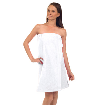 "Women's Terry Velour 29"" Spa Towel Wrap (White Embroidered)"