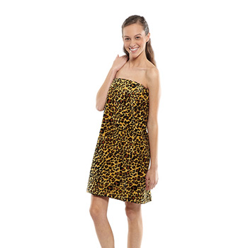 Women's Leopard Print Terry Velour Spa Wrap (Embroidered)