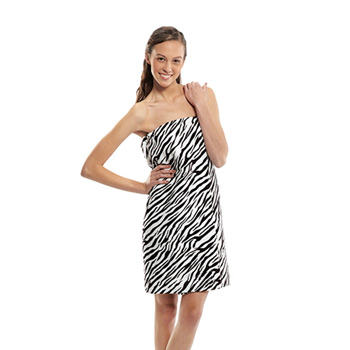 Women's Zebra Print Terry Velour Spa Wrap (Embroidered)