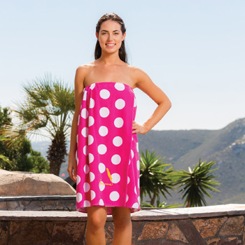 2XL Women's Polka Dot Print Terry Velour Spa Wrap (Embroidered)