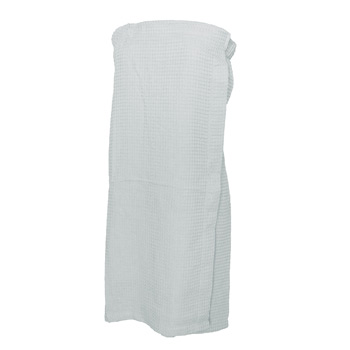 "Women's Waffle Weave 29"" Spa Towel Wrap (White Embroidered)"