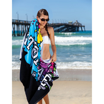 "Custom Fiber Reactive Premium Terry Velour Beach Towel (36""x72"")"